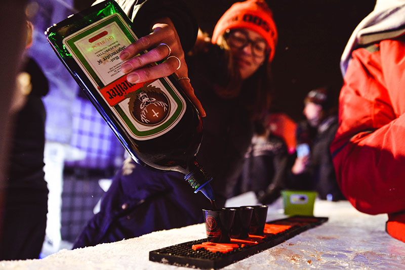 Shot of jagermeister being poured on ice
